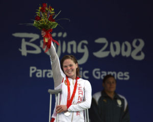 Stephane Dixon of Victoria, B.C. on the podium with her silver medal in women's 400 metre freestyle at the swimming finals at the Paralympic Games in Beijing, Friday, Sept., 12, 2008. THE CANADIAN PRESS CPC/Mike Ridewood