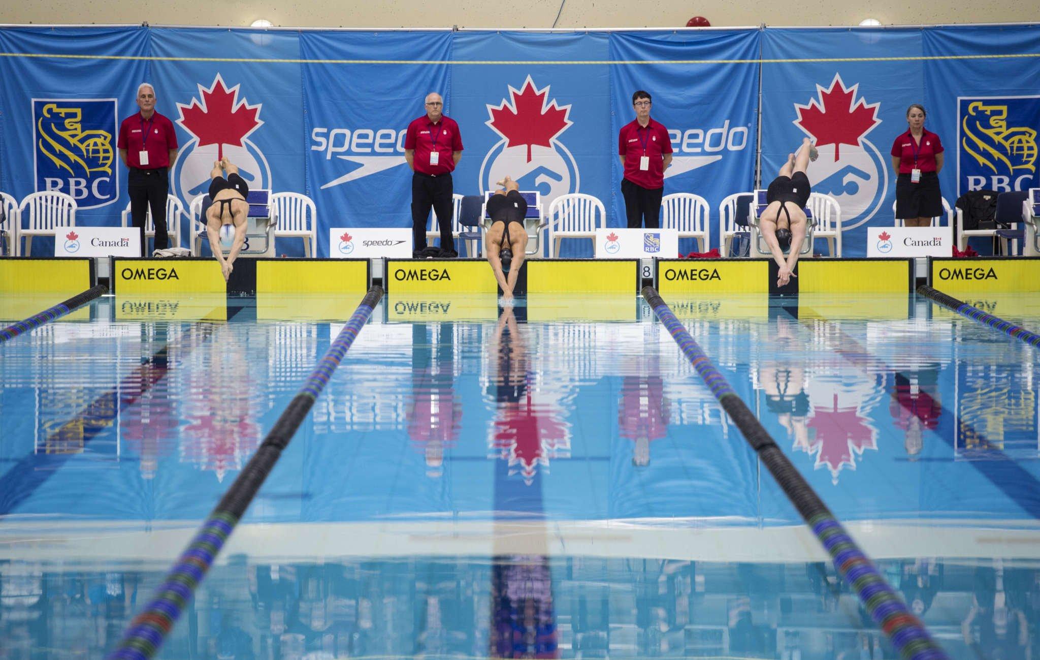 College Swim Meet, Mens 4 x 100 Freestyle Relay Race